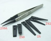 Stainless Steel Handle + 4 set Plastic Tweezers Antistatic Plier