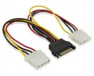 15 Pin SATA Power Male to Dual Molex 4 Pin Female
